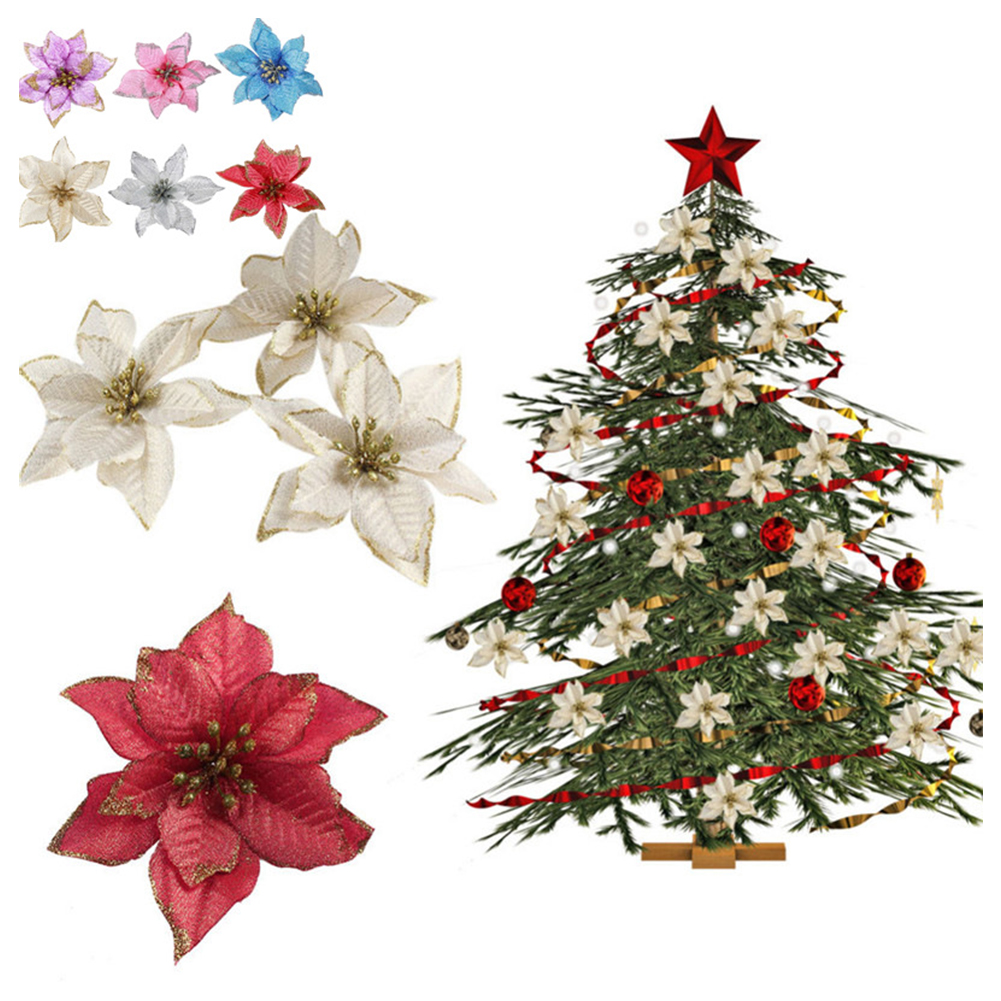 12Pcs Glitter Christmas Tree Holly Poinsettias Decoration Wreath Silver Flowers