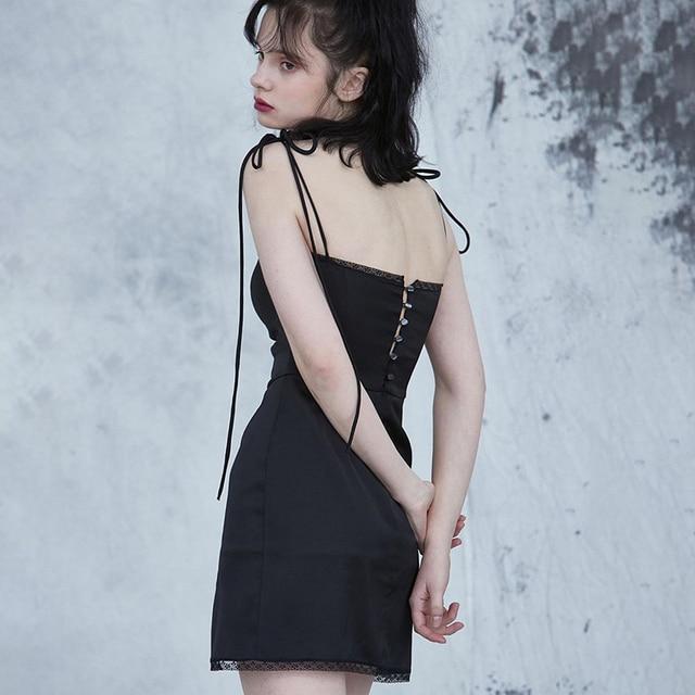 InsGoth Sexy Spaghetti Straps Bodycon Gothic Black Dress Women Streetwear Black Lace Up Mini Female Dress Casual Purple Dress 3