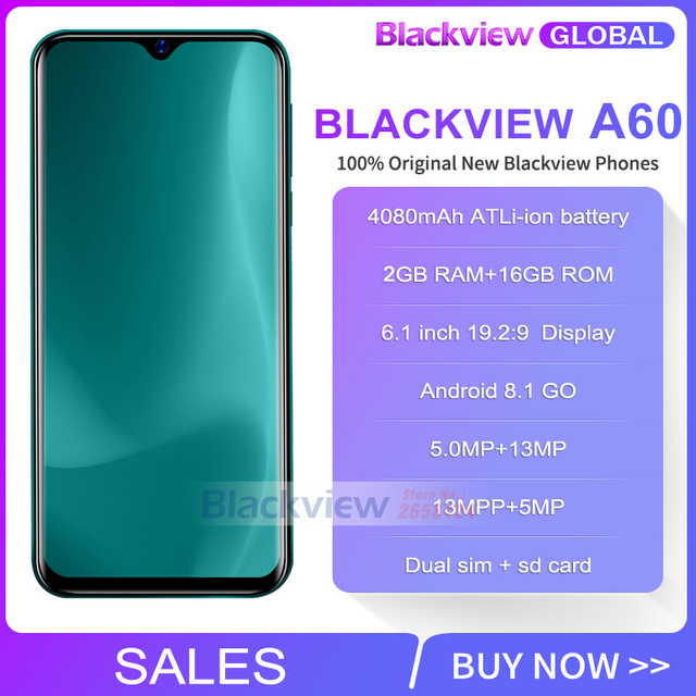 Blackview A60 2GB+16GB 4080mAh Smartphone Android 10.0 Quad Core 6.1'' 19.2:9 Waterdrop Screen 3G Mobile Phone 2