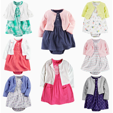 Cute Baby 2-PCS Girl Set Kid Clothing Infant Newborn Gril Outfit Autumn Pink Coat+Floral Onesies Cotton Princess Dress