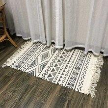 Alfombra nórdica tejida a mano de algodón de lino con borla alfombra de cabecera para piso geométrico sala de estar sofá mesa de dormitorio decoración del hogar