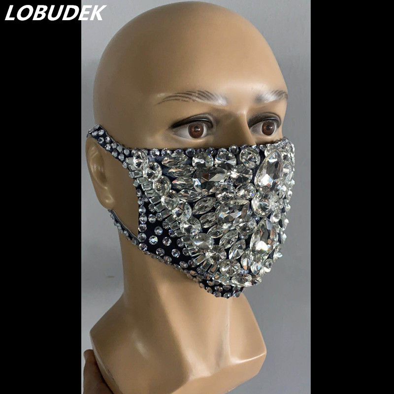 Fashion Pearl Rhinestones Mask Male Female Stage Accessories Prom Party Show Masked Singer Dancer Catwalk Performance Costume
