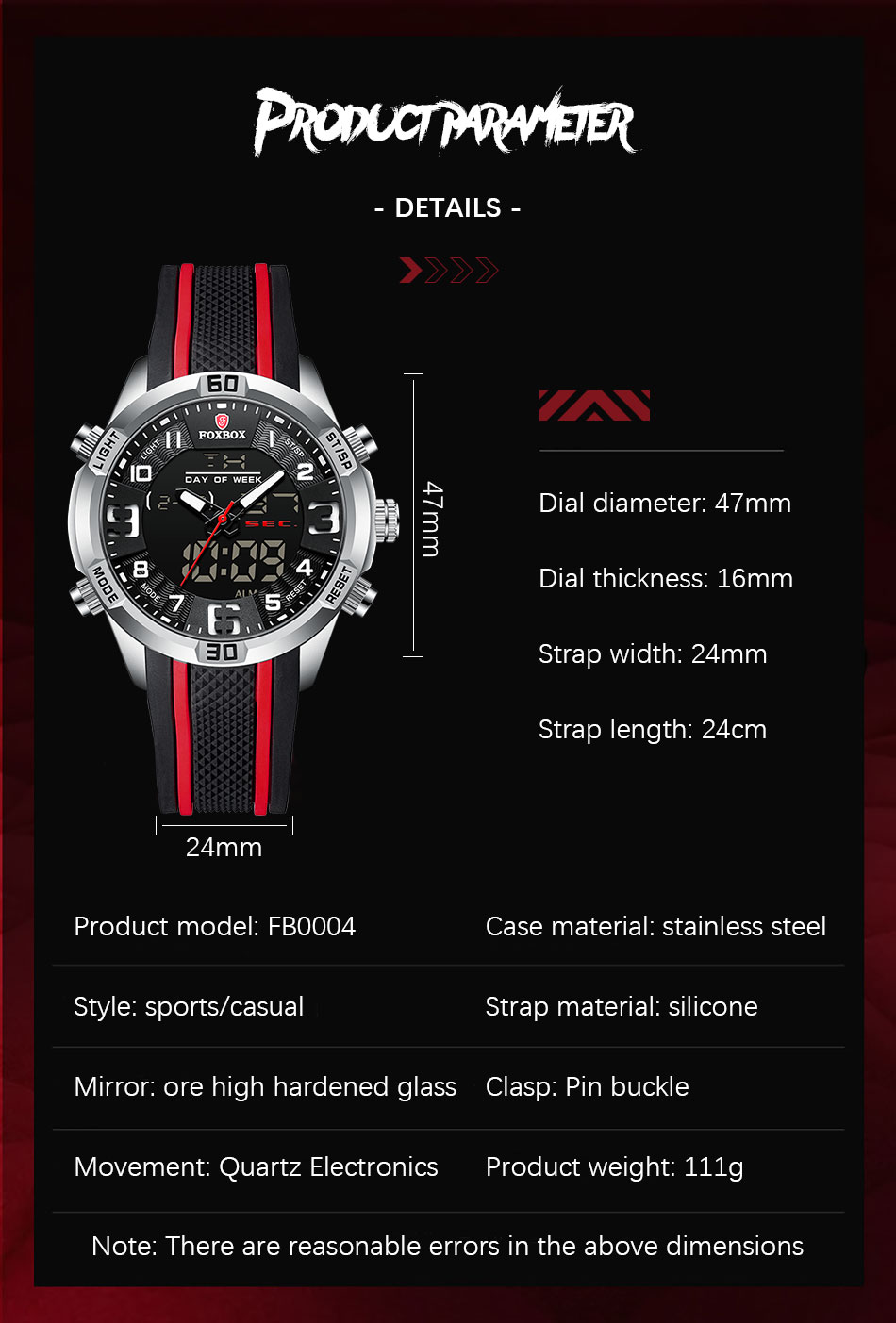 Hd83cbbbe3f654ad98ef180916c1ae9b4q Watch For Men FOXBOX Top Brand Luxury Dual Display