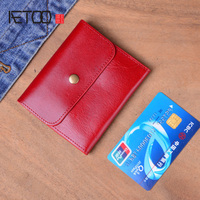 AETOO Genuine Leather Wallet Women Vintage Handmade Female Short Small Wallets Coin Purse Card Holder Case