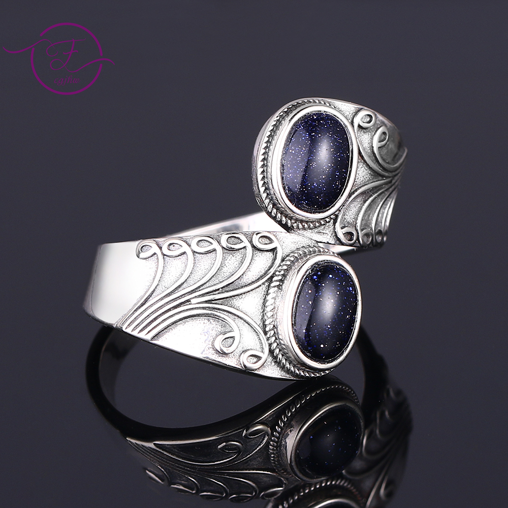 New Design Punk Hiphop Ring With Two Blue Sandstone Women 925 Sterling Silver Jewelry Party Birthday Gift