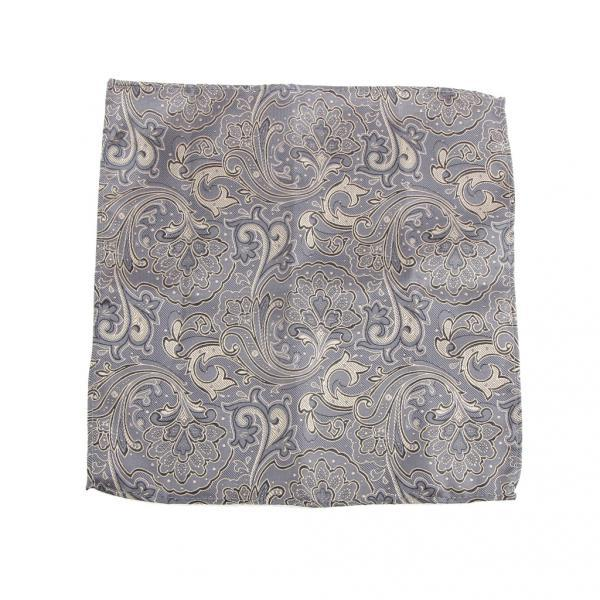 Men's Peiris Pattern Pocket Square Hankie Hanky Handkerchief Gray And Gold