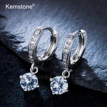Женские серьги-подвески Kemstone, модные серьги из меди с серебряным покрытием и фианитом