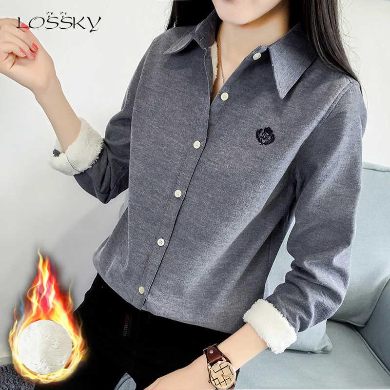 Lossky женские хлопковые Блузки Топы осень зима длинный рукав рубашка модная вышивка белый бархат плотная теплая одежда Femme 2019