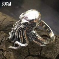925 pure silver thai silver Three dimensional octopus ring Thai silver man's ring