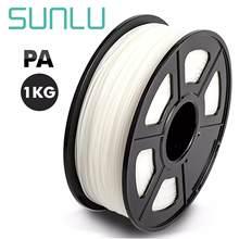 Filamento transparente 1.75mm 1kg/2.2lb do pa do filamento da impressora de sunlu 3d com carretel em alta qualidade e sem bolhas
