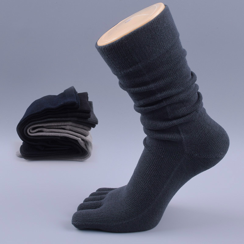Hot 5 Pairs Brand Men's Business Dress Five Finger Toe Socks High Ankle Cotton Long Sox High Quality Sokken BOC027