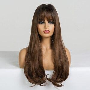Image 5 - ALAN EATON длинные волнистые синтетические парики с челкой для черных женщин афро американские Омбре черные коричневые Косплей Жаростойкие волосы