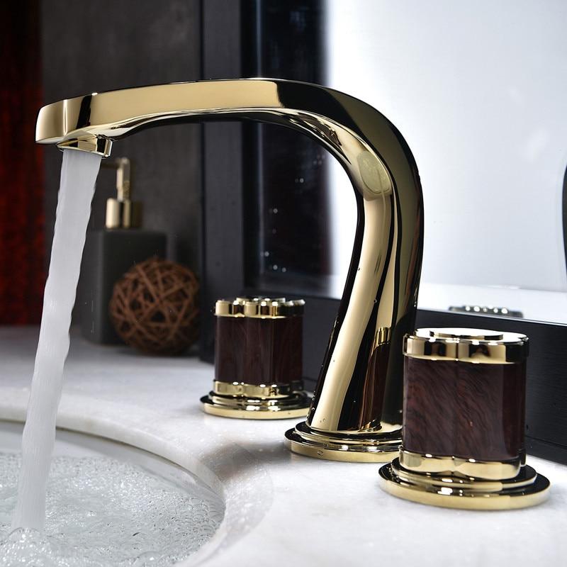 Bathroom Widespread Basin Faucets Soild Brass Sink Mixer Taps Hot & Cold Lavatory Crane Luxury 2 Handle 3 Hole Bathtub Faucets