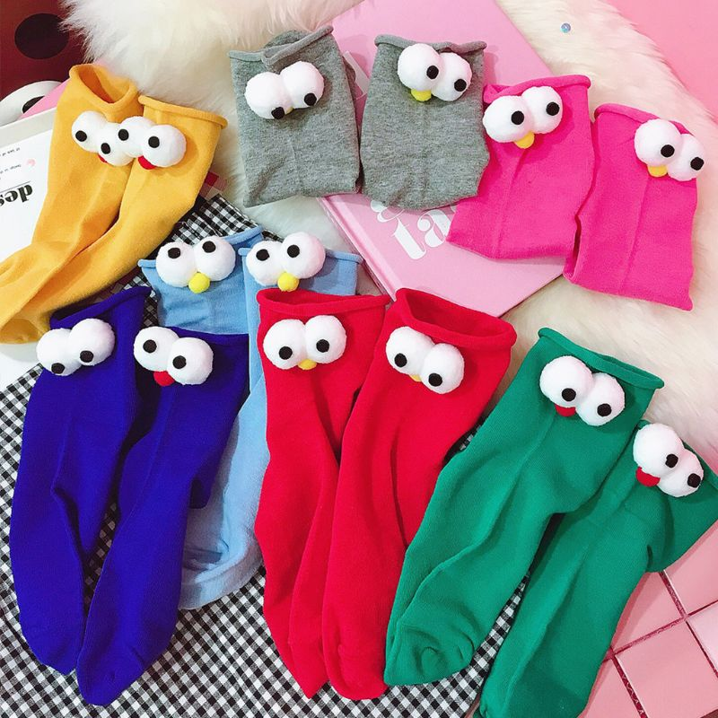 Women Girls Spring Sweet Candy Color Elastic Long Crew Socks Japanese Style Cute 3D Big Pompom Eyes Doll Decor Cotton Tube