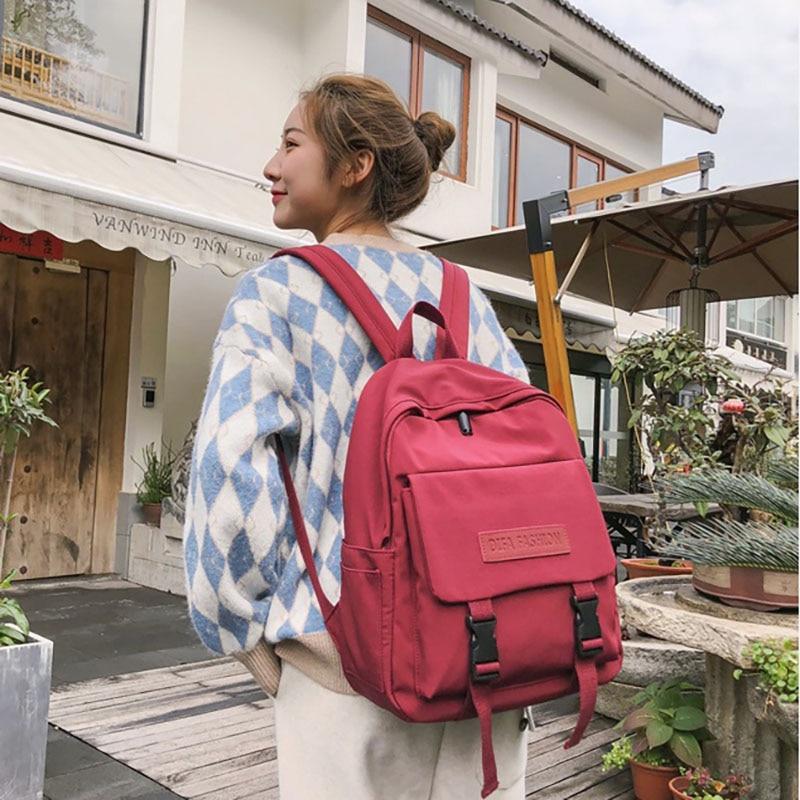 College Student Casual Nylon Backpacks Bagpack Campus Girl Back Pack Bagpack Female Backpack Bag Teenagers Girls Backpacks in Backpacks from Luggage Bags