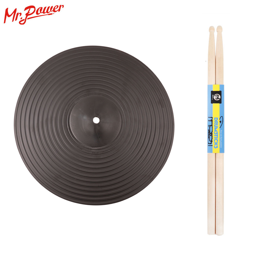 Practice Cymbals Drum Pads With 5A Drum Sticks 12 In Practice Silent Low Noise PC Plastic Crash With Maple Wooden Jazz Drumstick