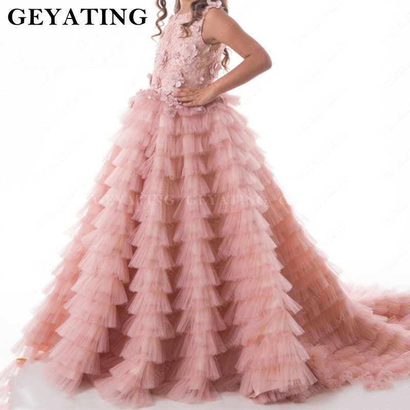 Blush Pink Ball Gown Flower Girls Dresses For Weddings Vestido daminha Tiered 3D Floral Flowers Lace pageant girls dresses 2020