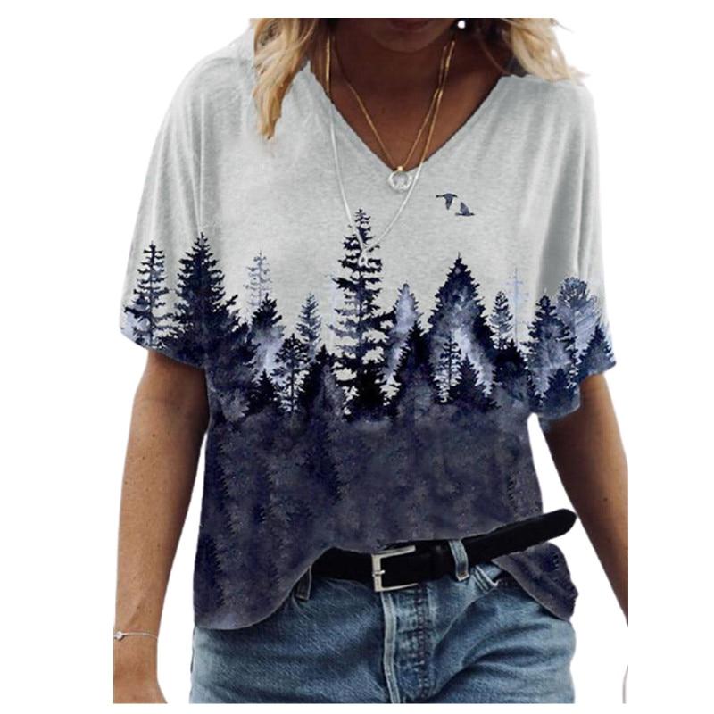 2021 mode Nouvelles Femmes T-Shirt Élégant Col En V Imprimé Paysage Dames Streetwear Décontracté Lâche T-Shirt À Manches Courtes pour femmes