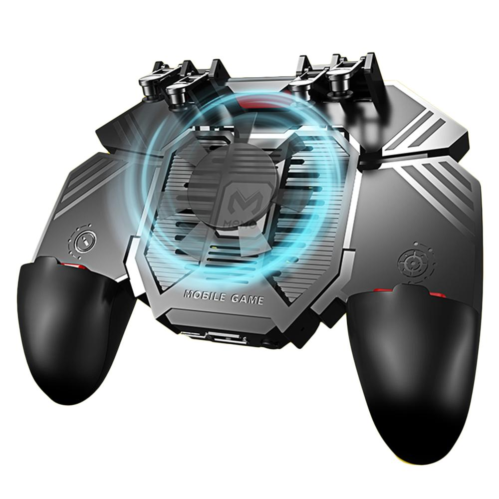 AK77 Six Finger All-in-One Mobile Game Controller With Dual Fans Free Fire Key Button Joystick Gamepad Radiator For PUBG