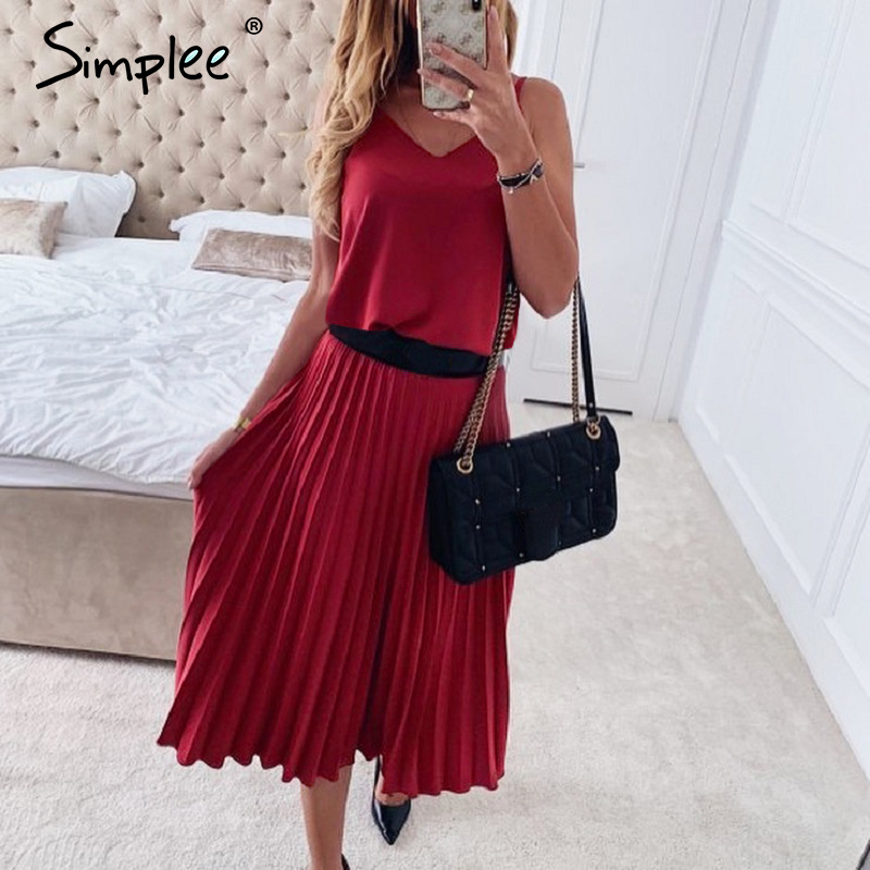 Simplee Sexy v-neck women party dress Elegant spaghetti strap female pleated office dress Solid female pink midi summer dresses 5