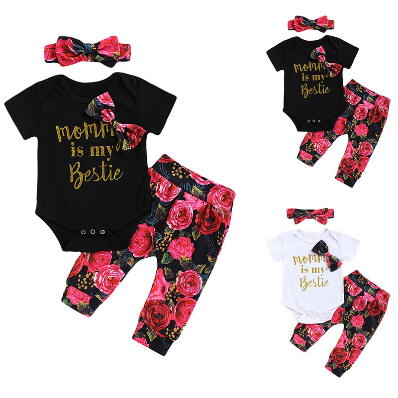 CYSINCOS Infant Baby Girl Mommy Is My Bestie Letter Print Romper+Floral Pants+Headband 3PC Set Outfit Children Flower Clothes