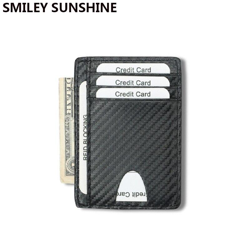 Carbon Fiber Genuine Leather Men Wallet Slim Mini Card Holder Wallets Black Male Small Coin Purse Short Women Money Bag Waller