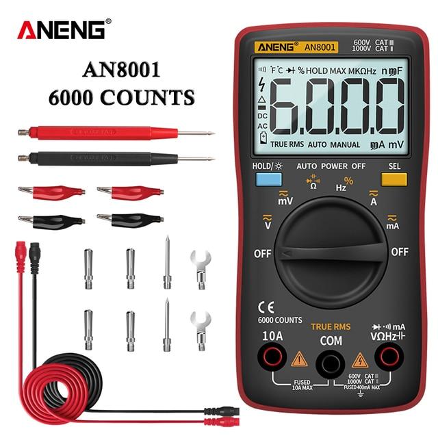 Цифровой мультиметр ANENG AN8001, профессиональный, 6000 отсчетов, тестер конденсаторов, универсальный тестер напряжения