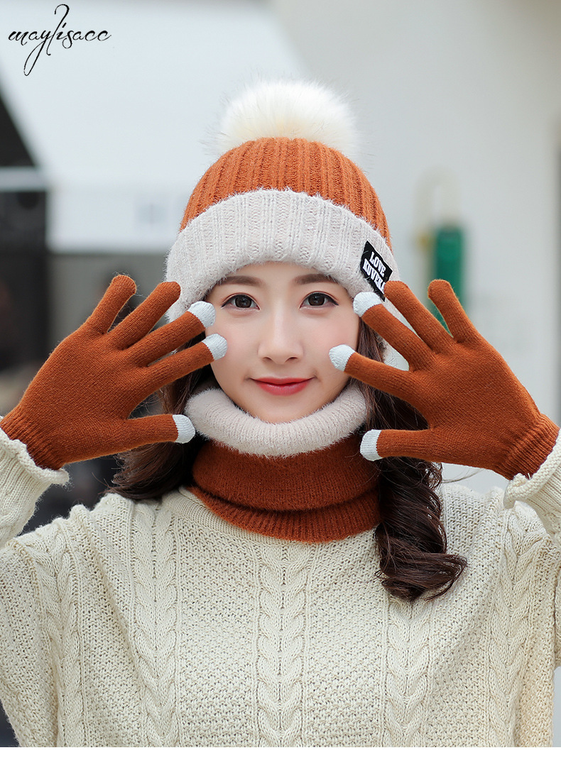Autumn Winter Pompom Hat Scarf Gloves Set Maylisacc New Suit Ladies 3 Pcs Set Knitted Pullover Cap Set Velvet Accessories Beanie