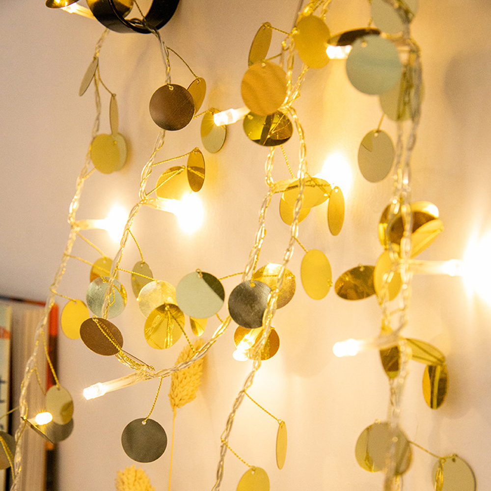 2M 20 LED String Light Gold Sequin Fairy Light Garland Christmas Tree Home Wedding Party Holiday Lighting Decoration