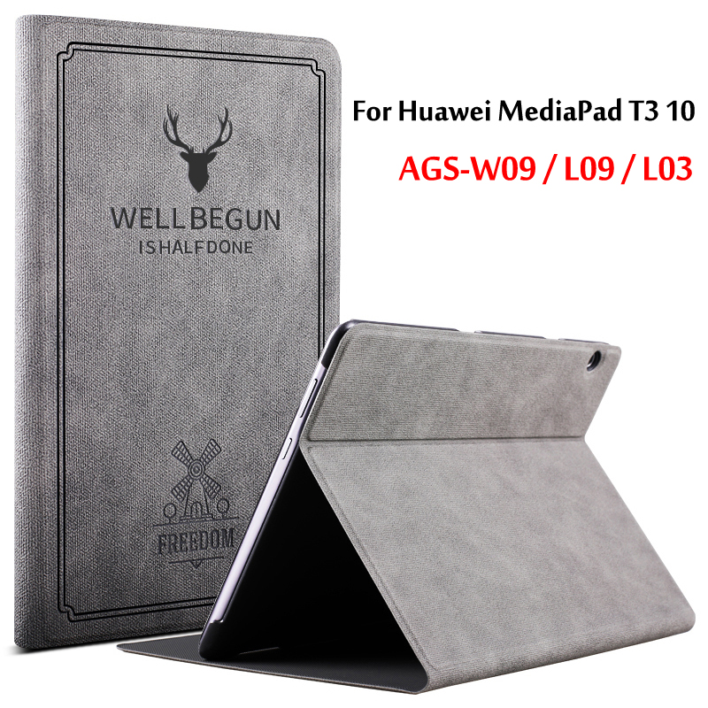 Case For Huawei MediaPad T3 10 Case AGS-W09 AGS-L09 AGS-L03 Slim Folding Stand Flip Cover For Huawei T3 9.6 Case Tablet Funda