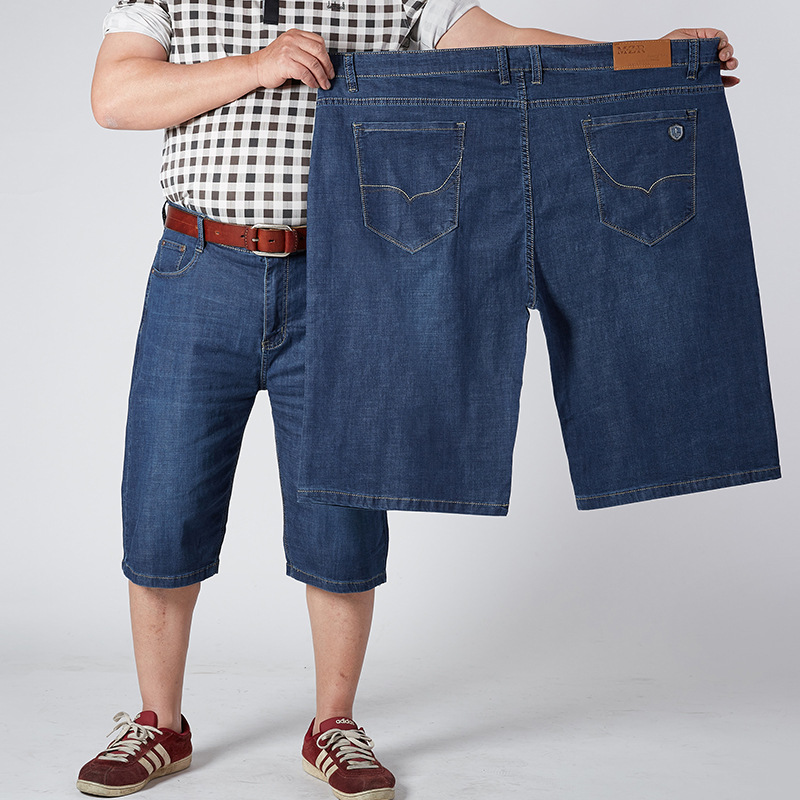 1385 Elasticity Large Size Denim Shorts Men's Casual Plus-sized Fat Capri Pants 36-52