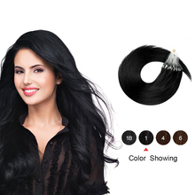 Links Hair-Extensions Micro-Ring Human-Hair Gazfairy 1g/S 16'' Platinum Blonde-Color
