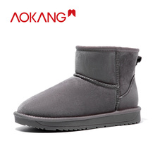 AOKANG 2019 Winter Snow Boots Women Short Plush Insole Shoes Woman Comfortable Ankle Flat Warm High Quality Boats