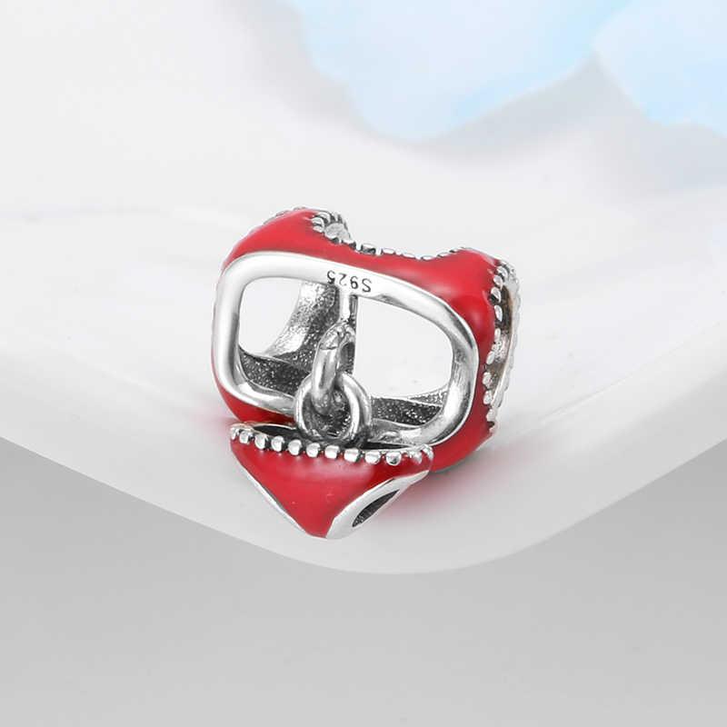 Оригинальный серебряные бусины 925 пробы комплект бикини с красной эмалью, очаровательные женские аксессуары, подходят для браслетов Pandora, изготовление ювелирных изделий