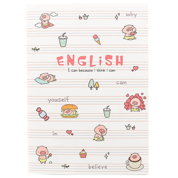 B5 notebook English words book for kids cute cartoon notebooks line pages school office supply stationery notepad small gifts