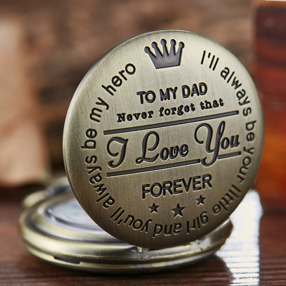 Pocket Watch TO MY DAD I LOVE YOU Laser Engraved Quartz Flip Clock for Daddy Birthday Father's Day Present Fob Chain Clock Gift