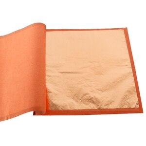 Image 1 - 400 livrets Imitation feuille dor feuilles 25 pièces/livret 14X14cm et 16x16cm feuille de cuivre rouge #0 pour Art artisanat papier décoration de la maison