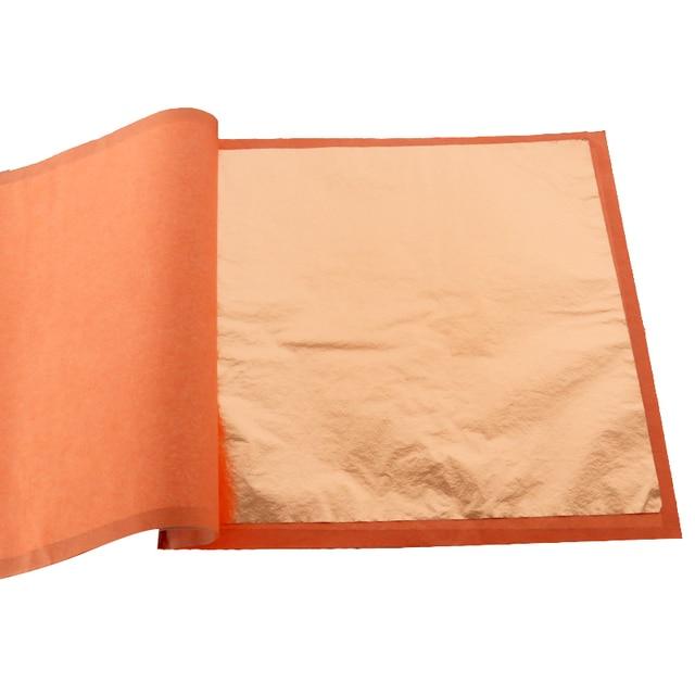 400 livrets Imitation feuille dor feuilles 25 pièces/livret 14X14cm et 16x16cm feuille de cuivre rouge #0 pour Art artisanat papier décoration de la maison