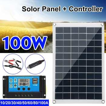 100w Solar Panel Kit Complete 12V USB With 10/20/30A Controller Solar Cells for Car Yacht RV Boat Moblie Phone Battery Charger 1
