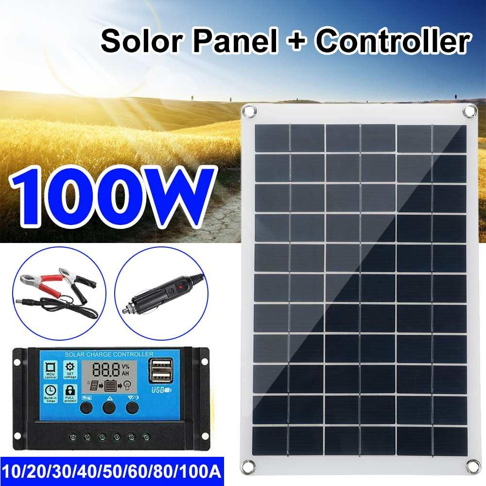 Комплект солнечных панелей, 100 Вт, 12 В, USB, с контроллером 10/20/30A, солнечные батареи для автомобиля, яхты, RV, лодки, мобильного телефона, зарядное...