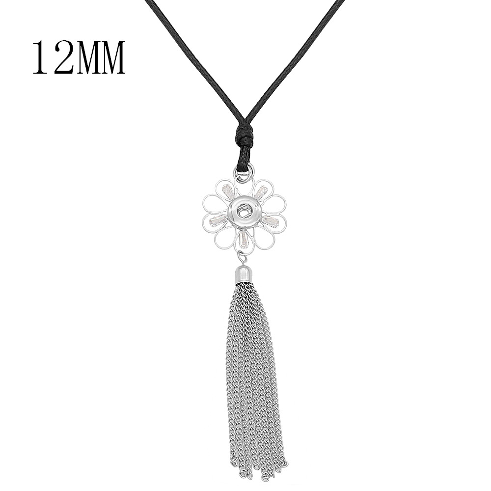 2019 New Bohemia Snap Button Necklace Silver Long Tassel Snap Pendant Necklace with 60cm Leather Chain 12mm Snap Buttons Jewelry image