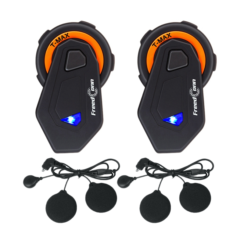 2Pcs Freedconn T-Max Motorcycle Helmet Bluetooth Headset Walkie-Talkie 6 People Knight Group Intercom Bt Walkie-Talkie Fm Radio