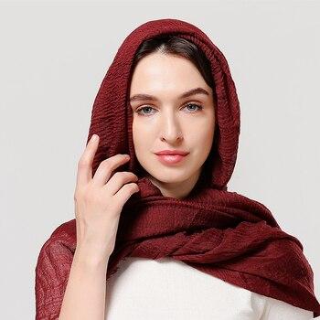 2020 cotton Scarf Crinkle Women Soft Solid muslim Hijabs Muffler Shawls Pashmina Wrap Hijab Scarves Headscarf Turban shawls wrap 6