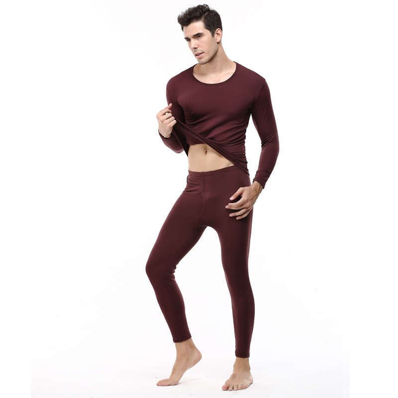 Men's Suit Warm Top + Pants Fall Winter Pajamas Bottom And Velvet Thick Cotton Underwear Sets Red Black Pluse Size L-2XL
