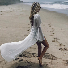 купить 2019 Sexy Deep V-Neck Backless Beach Dress Women Fashion Long Tail Flare Sleeve Tunic Bikini Cover UP Beachwear Robe Swim Suit дешево