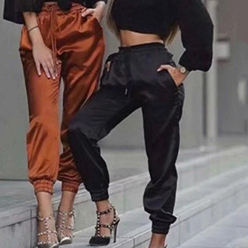 Women Summer Satin Cargo Pants Women Europe Loose Casual Sport Women Joggers Streetwear Cargo Pants