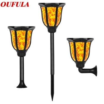 цена Solar Garden Lawn Lamp Flame Waterproof Outdoor Light Sensor Garden Wall Lamp Torch Lamp IP65 онлайн в 2017 году