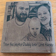 Personalized Family Baby Photo Men Wallet Grey Advance Fabric Purse Engrave Wish Custom Dad Short Wallet Christmas Gift Husband(China)