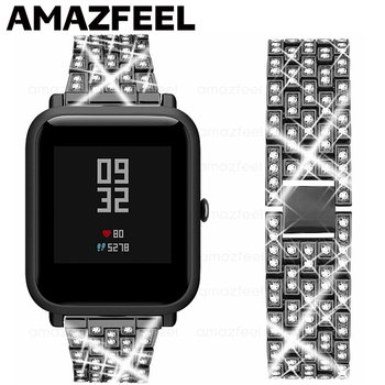 Luxurious Watch Strap For Huami Amazfit Bip Wrist Strap Bracelet For Amazfit gts gtr 42mm Wristband 20mm Metal Stainless Steel