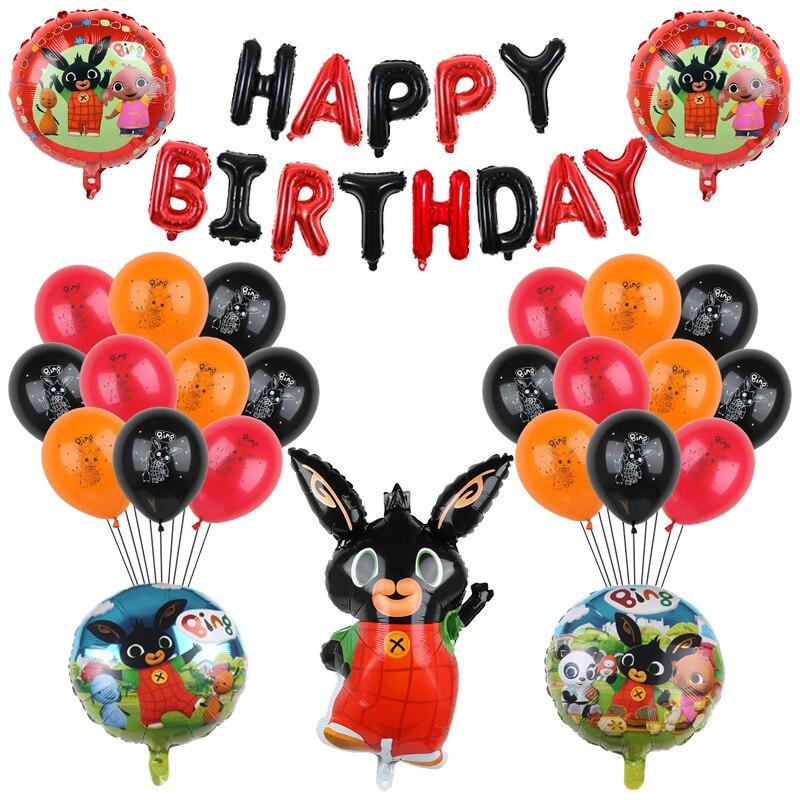 1 conjunto dos desenhos animados coelho folha hélio balão preto vermelho 30 polegada número chá de fraldas feliz aniversário festa decoração animais de estimação brinquedo presente